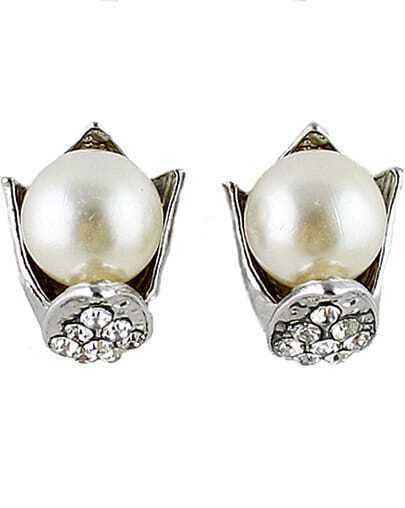 Silver Pearl Diamond Stud Earrings