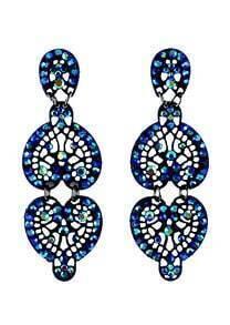Blue Gemstone Silver Hollow Heart Earrings