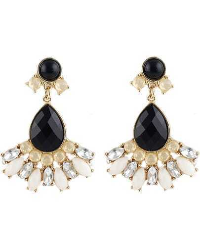 Black Drop Gemstone Gold Earrings