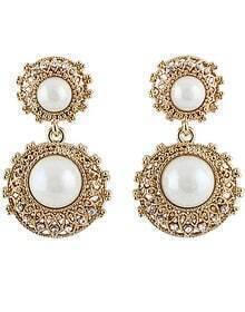 White Gemstone Gold Round Earrings