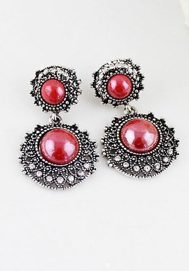 Red Gemstone Silver Round Earrings