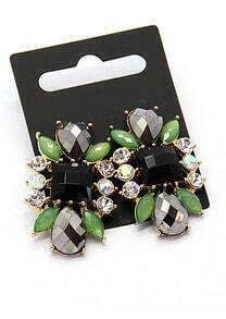 Green Black Gemstone Gold Earrings