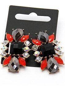 Red Black Gemstone Gold Earrings