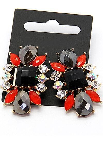 Red Black Gemstone Gold Earrings