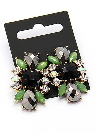 Green Black Gemstone Gold Earrings