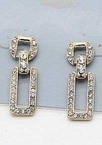 Gold Diamond Geometic Earrings