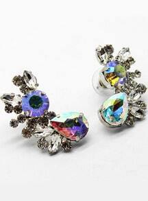 Silver Drop Diamond Earrings