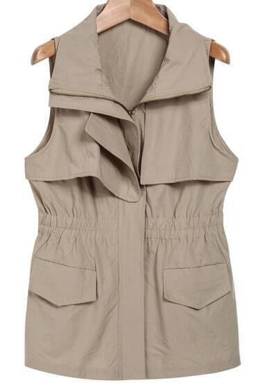 Khaki Lapel Sleeveless Pockets Outerwear