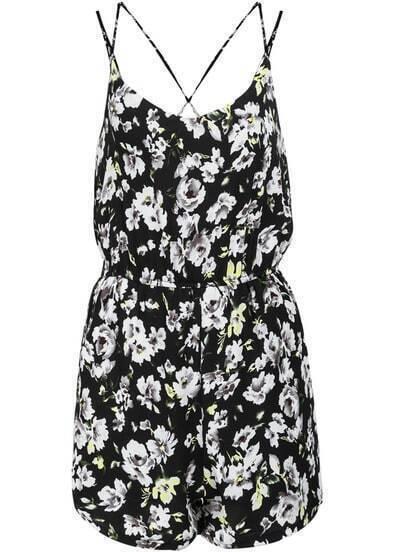 Black Criss Cross Back Backless Floral Chiffon Jumpsuit