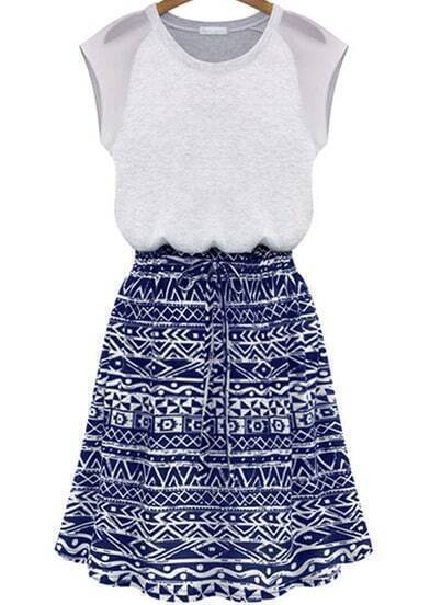 Blue Sleeveless Drawstring Geometric Print Dress