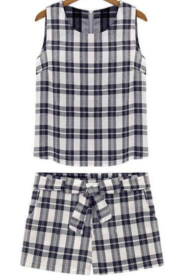Black Sleeveless Plaid Top With Bow Straight Shorts