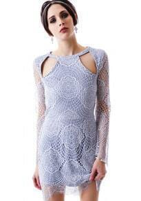 Blue Long Sleeve Crochet Cut Out Asymmetric Hem Dress