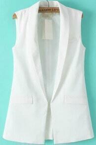 White Lapel Sleeveless Pockets Vest
