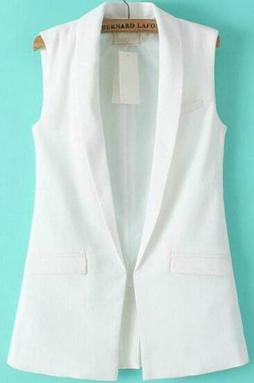 White Lapel Sleeveless Pockets Vest