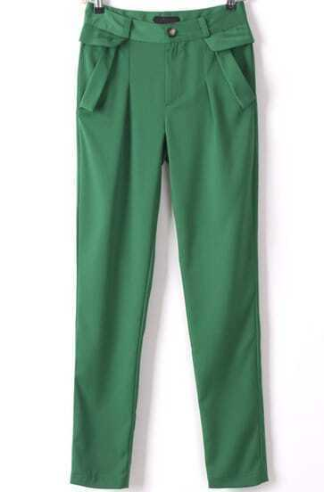 Green Pockets Slim Pencil Pant