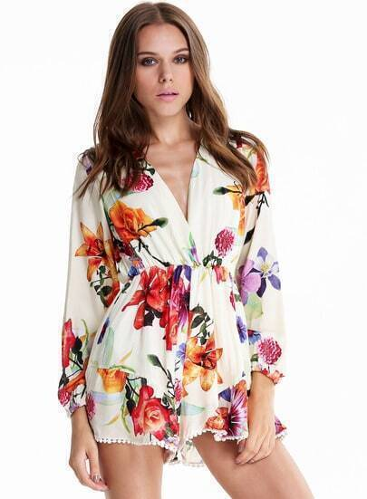White V Neck Long Sleeve Floral Loose Jumpsuit