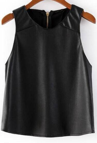 Black Sleeveless Zipper PU Leather T-Shirt