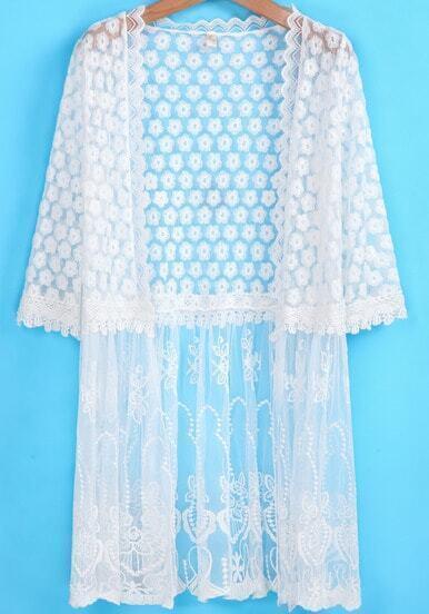 White Half Sleeve Lace Sheer Mesh Yoke Outerwear