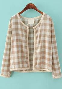 Khaki Long Sleeve Plaid Crop Jacket