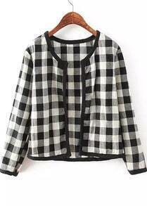 Black Long Sleeve Plaid Crop Jacket