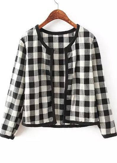Black Long Sleeve Plaid Crop Jacket