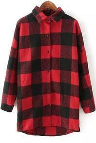 Red Black Lapel Checkerboard Long Sleeve Plaid Loose Blouse