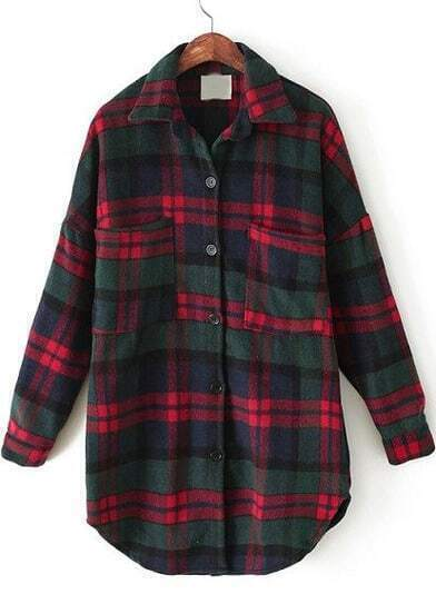 Red Green Plaid Lapel Pockets Loose Blouse