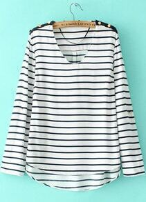 White Black Striped V Neck Long Sleeve Loose Blouse