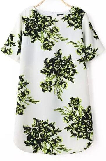 White Short Sleeve Green Floral Bodycon Dress