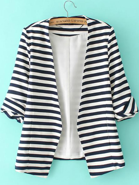 Фото Striped Rolled Sleeve Open Front Blazer. Купить с доставкой