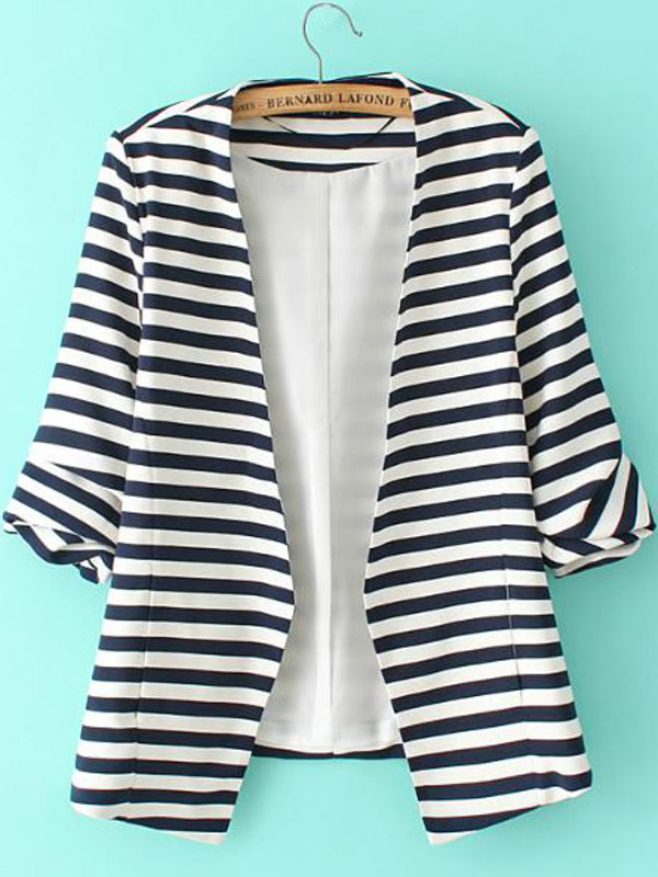 Striped Rolled Sleeve Open Front Blazer by Sheinside