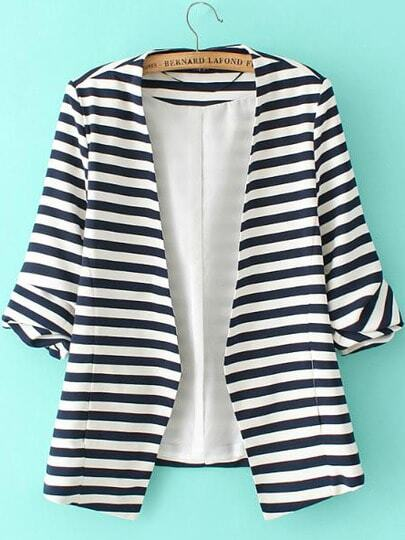 Striped Rolled Sleeve Open Front Blazer