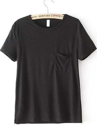 Black Short Sleeve Pocket Loose T-Shirt