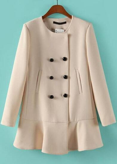 Apricot Long Sleeve Buttons Ruffle Coat