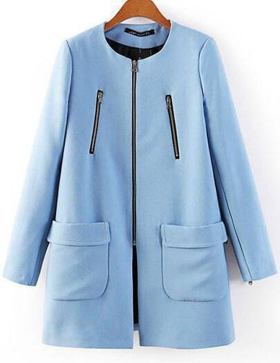 Blue Long Sleeve Zipper Pockets Coat