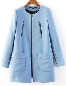 Blue Long Sleeve Zipper Pockets Coat