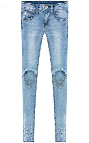 Blue Pockets Ripped Skull Embroidered Denim Pant