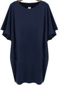 Navy Batwing Short Sleeve Loose Dress