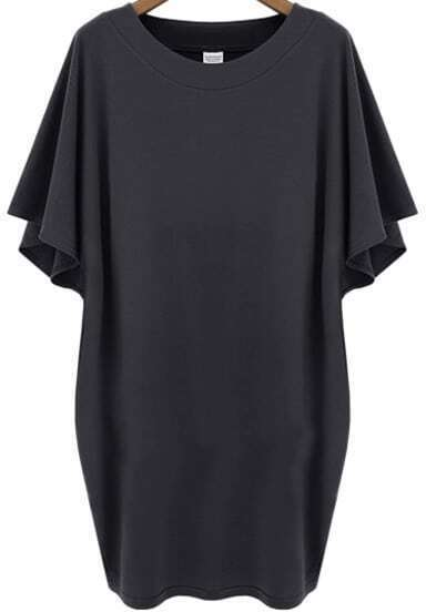 Dark Grey Batwing Short Sleeve Loose Dress