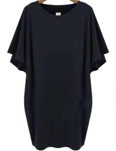 Black Batwing Short Sleeve Loose Dress