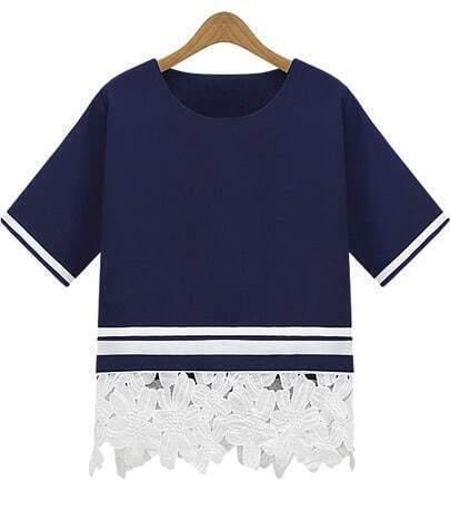 Navy Short Sleeve Floral Crochet Loose T-Shirt