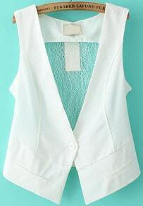 White V Neck Sleeveless Contrast Lace Vest