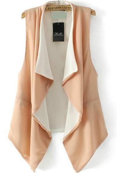 Apricot Lapel Sleeveless Pockets Chiffon Vest