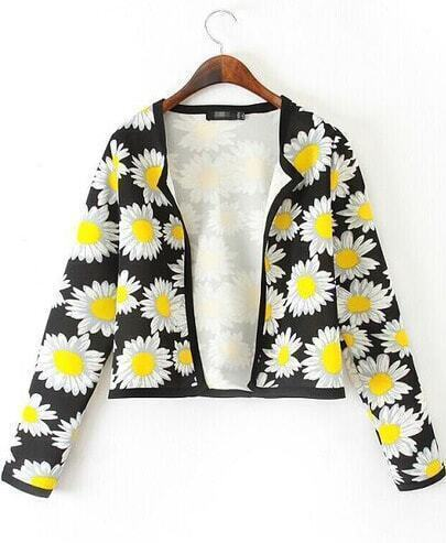 Black Long Sleeve Sunflower Print Crop Jacket