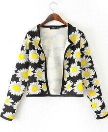 Black Long Sleeve Sunflower Print Crop Jacket