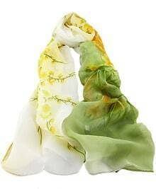 Green Gradients Floral Scarves