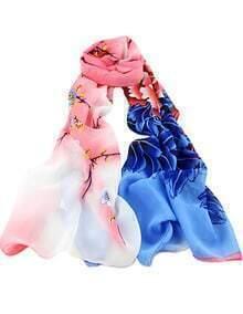 Pink Blue Floral Scarves