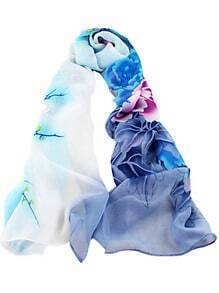 Blue Gradients Floral Scarves