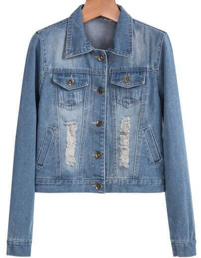 Blue Lapel Long Sleeve Ripped Denim Crop Jacket