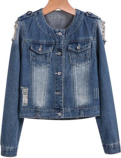 Blue Lapel Long Sleeve Bleached Ripped Denim Crop Jacket